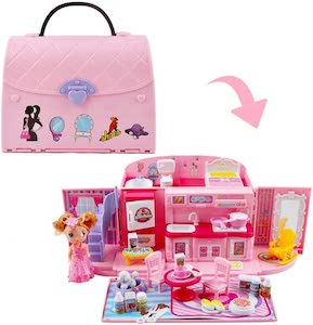deAO Children's 2-In-1 Pink Portable Doll House Play